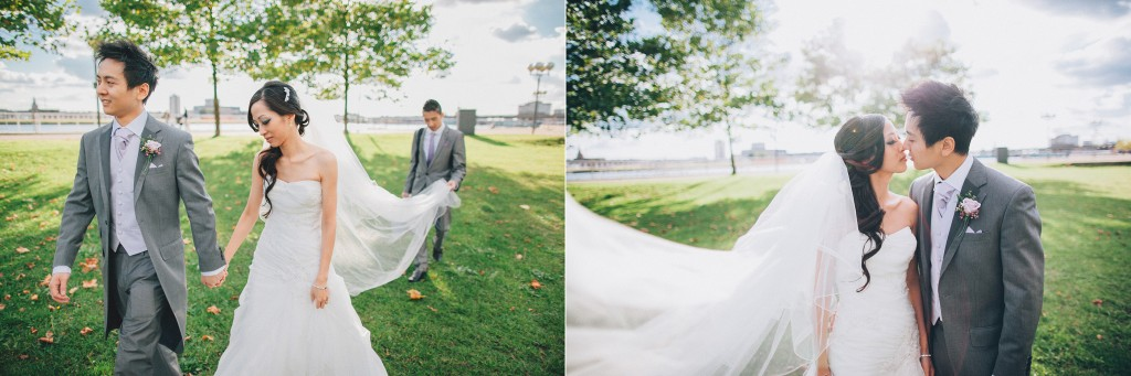 nicholas-lau-nicholau-weddings-london-film-photography-beautiful-pretty-blog-first-wedding-love-cute-white-dress-chinese-asian-day-sunny-sunshine-couple-bride-groom-grey-suit-long-veil-walking-kissing