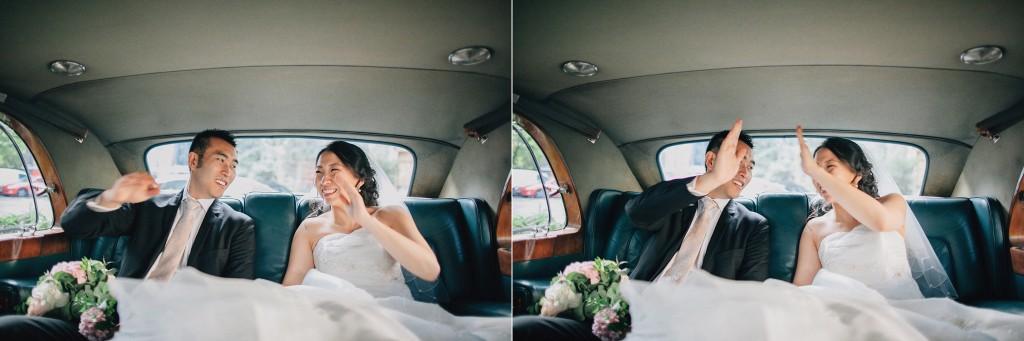 nicholas-lau-nicholau-weddings-london-film-photography-beautiful-pretty-blog-first-wedding-love-cute-white-dress-chinese-asian-get-away-car-high-five-bride-and-groom