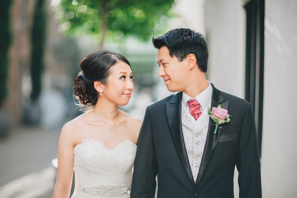 nicholas-lau-nicholau-weddings-london-world-global-film-photography-beautiful-pretty-blog-first-wedding-love-cute-white-dress-chinese-asian-corsage-pink-rose-looking-at-each-other-bride-groom
