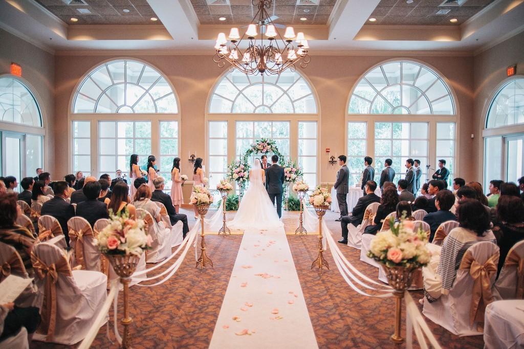 nicholas-lau-nicholau-weddings-london-film-photography-beautiful-pretty-blog-florida-wedding-love-cute-white-dress-chinese-korean-asian-bride-and-groom-at-the-alter-families-watching