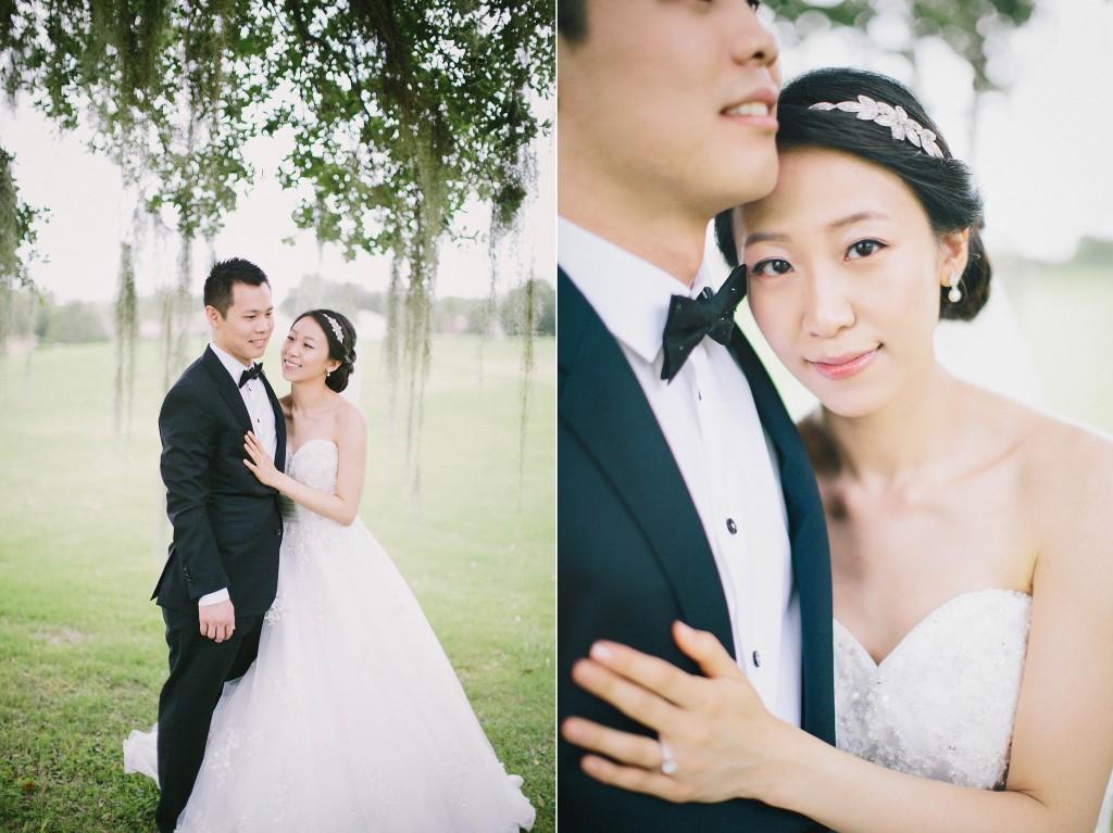 nicholas-lau-nicholau-weddings-london-film-photography-beautiful-pretty-blog-florida-wedding-love-cute-white-dress-chinese-korean-asian-bride-groom-outdoors-tuxedo-head-on-shoulder-spanish-moss-tree