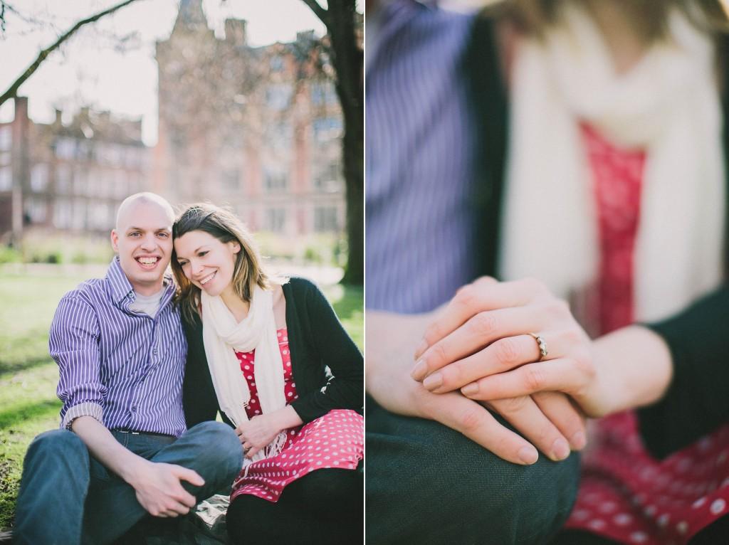 nicholas-lau-nicholau-lincolns-inns-fields-somerset-house-engagement-couple-photos-prewedding-love-london-blue-white-stripe-shirt-red-polka-dot-dress-sitting-together-picnic-ring-gold-diamonds