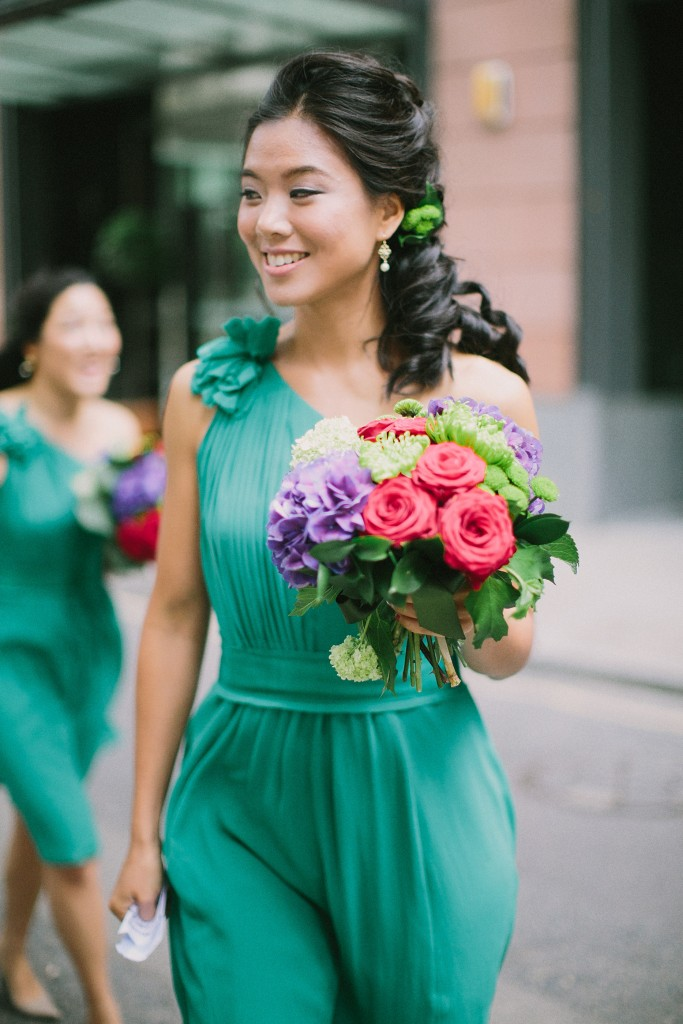nicholau-nicholas-lau-interracial-wedding-korean-bridesmaid-teal-aqua-dress-one-shoulder-bouquet