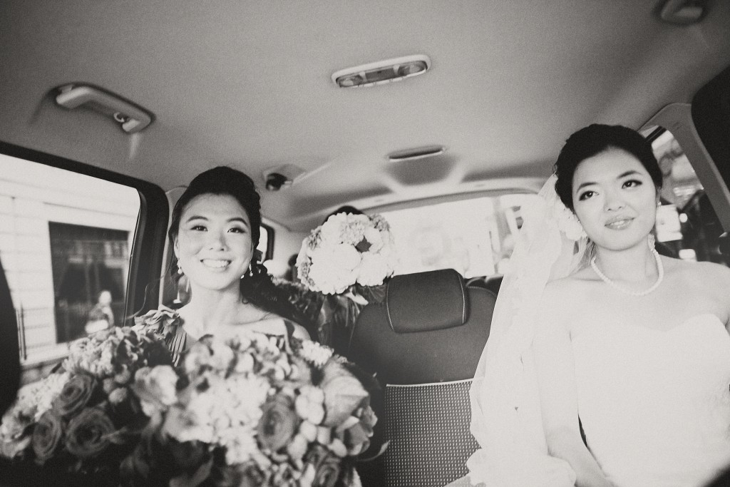 nicholau-nicholas-lau-interracial-wedding-maid-of-honour-bride-limo-ride-black-and-white