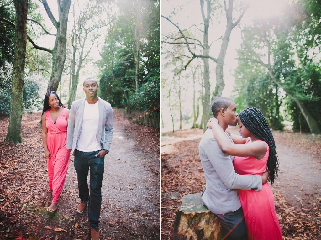 nicholau-nicholas-lau-photography-couples-session-pre-wedding-engagement-love-african-london-coral-dress-grey-blazer-woods-path-garden