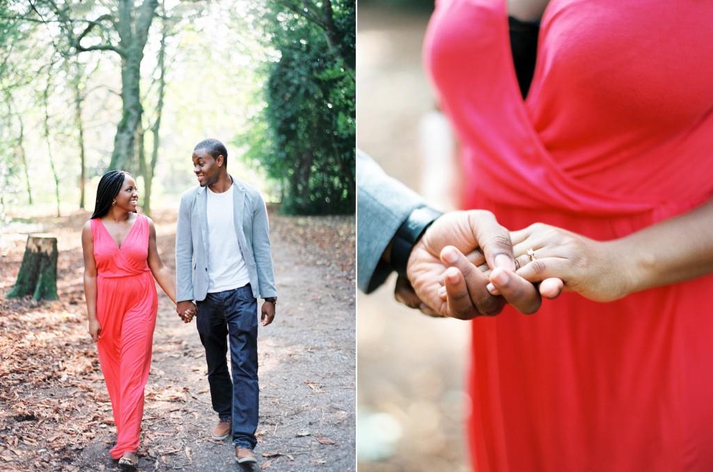 nicholau-nicholas-lau-photography-couples-session-pre-wedding-engagement-love-african-london-diamond-ring-coral-dress-grey-blazer-holding-hands-walking