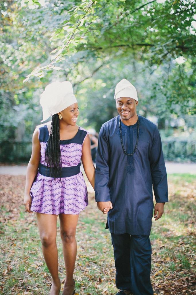 nicholau-nicholas-lau-photography-couples-session-pre-wedding-engagement-love-african-london-gele-headdress-traditional-tunic-clothes-park-garden