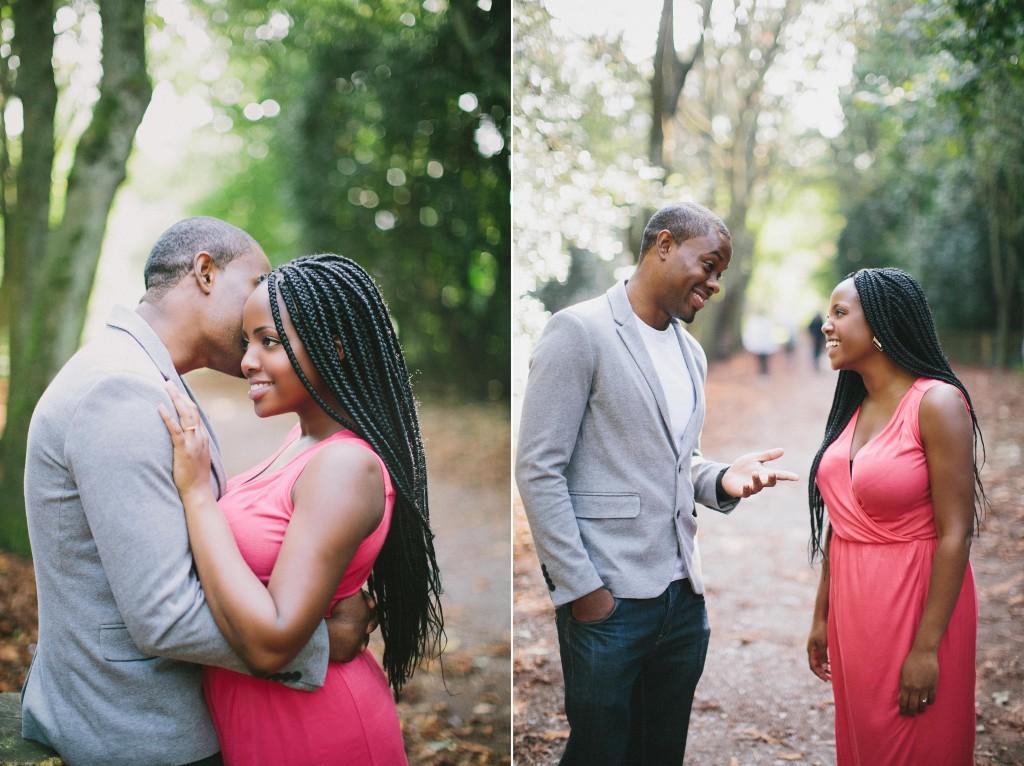 nicholau-nicholas-lau-photography-couples-session-pre-wedding-engagement-love-african-london-woods-park-garden-coral-dress-grey-blazer