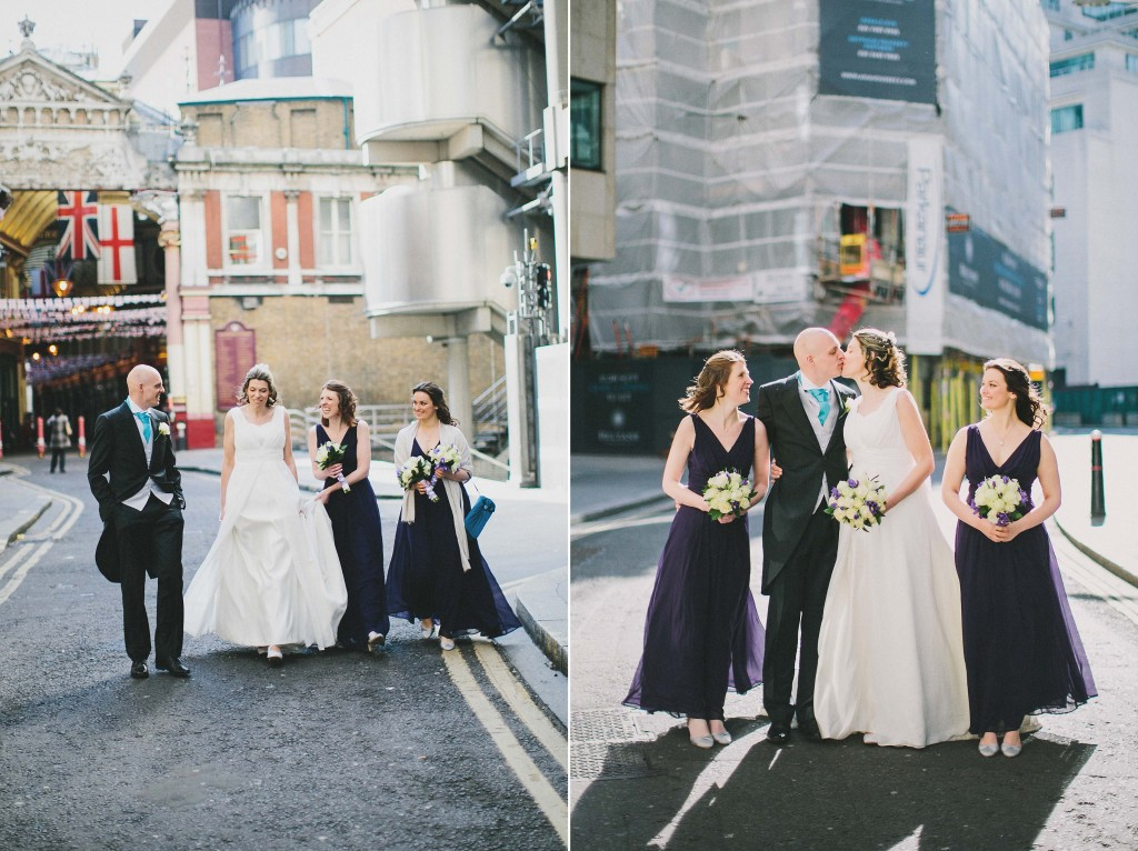 nicholas-lau-nicholau-london-weddings-fine-art-photography-leadenhall-market-st-helens-church-documentary-style-bride-groom-walking-together-hens-bridesmaids