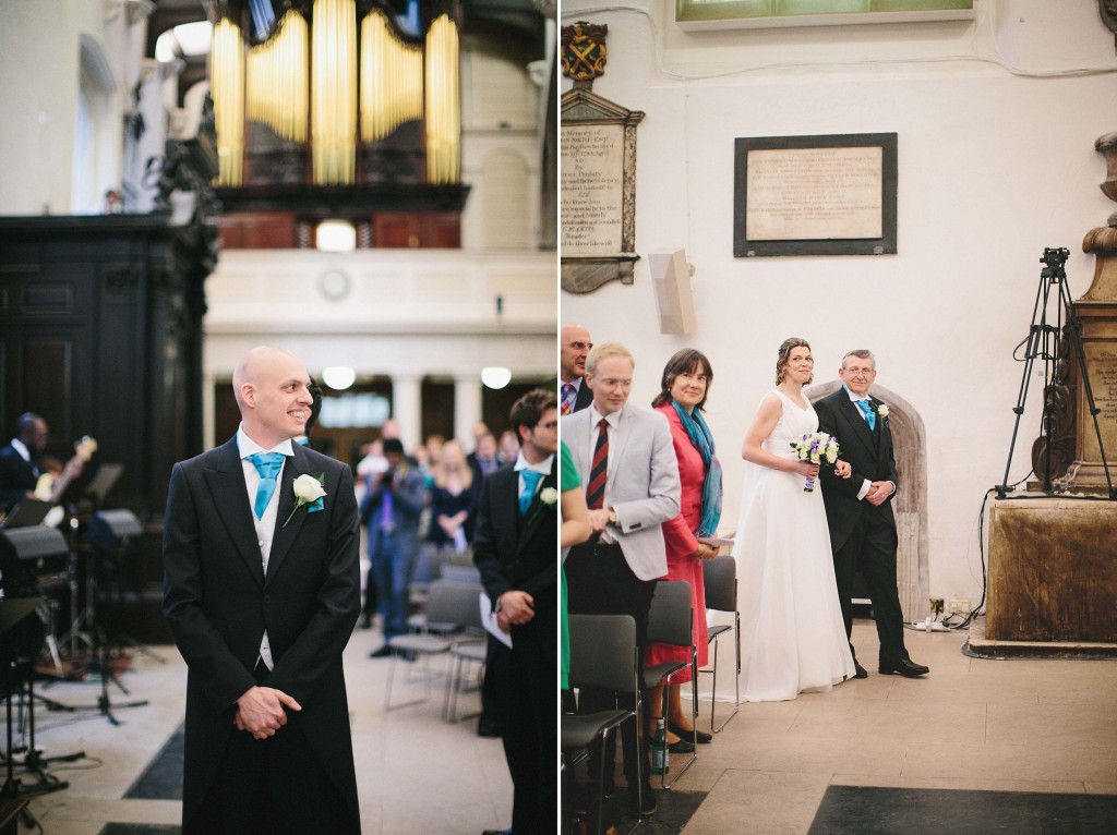 nicholas-lau-nicholau-london-weddings-fine-art-photography-leadenhall-market-st-helens-church-documentary-style-father-of-bride-walking-down-aisle-turing-the-corner-alter