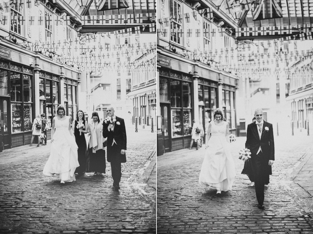 nicholas-lau-nicholau-london-weddings-fine-art-photography-leadenhall-market-st-helens-church-documentary-style-walking-black-white-outside-through-town