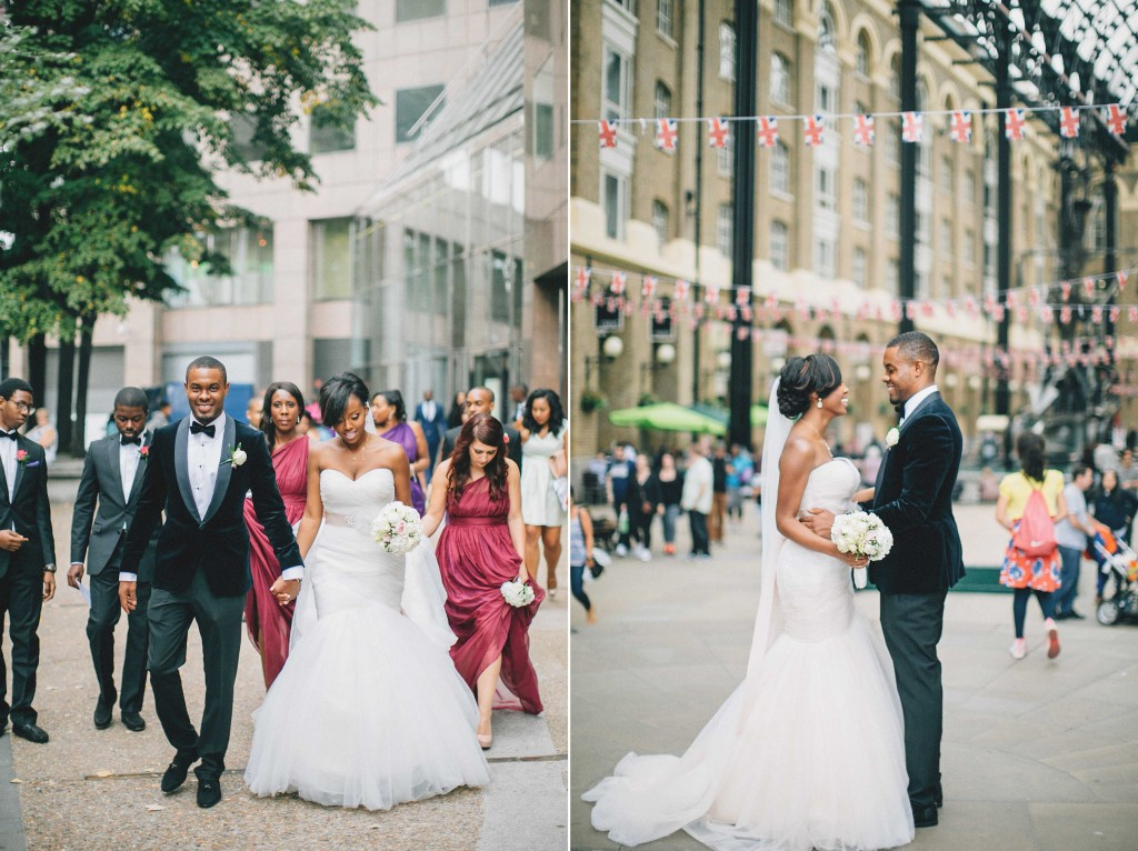 Nicholau-nicholas-lau-photography-london-uk-wedding-fine-art-film-nigerian-black-african-traditional-bride-groom-velvet-tuxedo-jacket-mermaid-gown-market-bridesmaids-violet-dresses