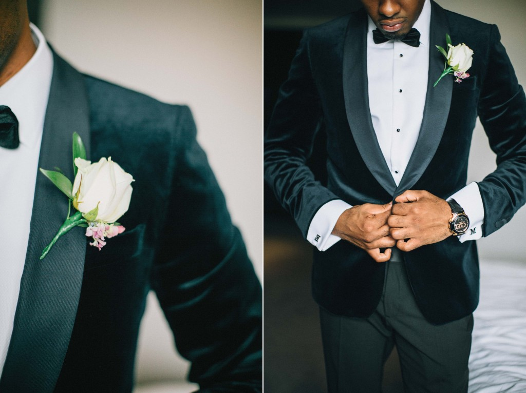 Nicholau-nicholas-lau-photography-london-uk-wedding-fine-art-film-nigerian-black-african-traditional-velvet-jacket-rose-corsage-bow-tie-button-tuxedo-tux