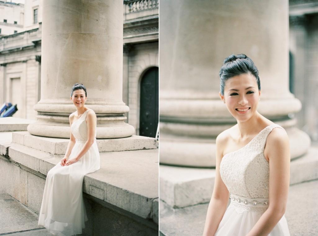 nicholas-lau-nicholau-chinese-london-uk-film-fine-art-photography-engagement-couple-pre-wedding-portra-160-400-800-fuji-contax-645-bank-side-love-architecture-column-hair-bun-up-do-white-gown-dress