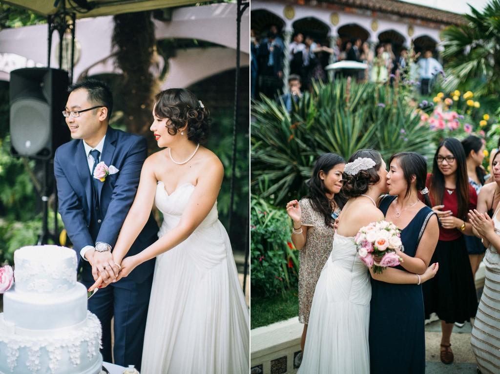 nicholau-nicholas-lau-wedding-fine-art-photography-london-chinese-asian-baby-blue-mint-green-cut-the-cake-bridge-groom-kisses-the-cheeks-guests-kensington-gardens
