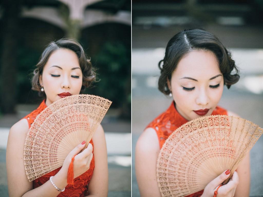 nicholau-nicholas-lau-wedding-fine-art-photography-london-chinese-asian-red-lips-finger-wave-bob-bamboo-fan-qi-pao-kensington-roof-top-gardens
