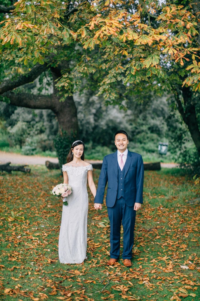 nicholas-lau-nicholau-wedding-marriage-fine-art-film-photography-blue-suit-chinese-love-dress-white-autumn-fall-leaves-stand-together-lace-rose-bouquet-pink-flowers-mordon