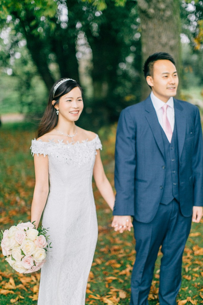 nicholas-lau-nicholau-wedding-marriage-fine-art-film-photography-blue-suit-chinese-love-dress-white-autumn-fall-leaves-stand-together-lace-rose-bouquet-pink-flowers-b
