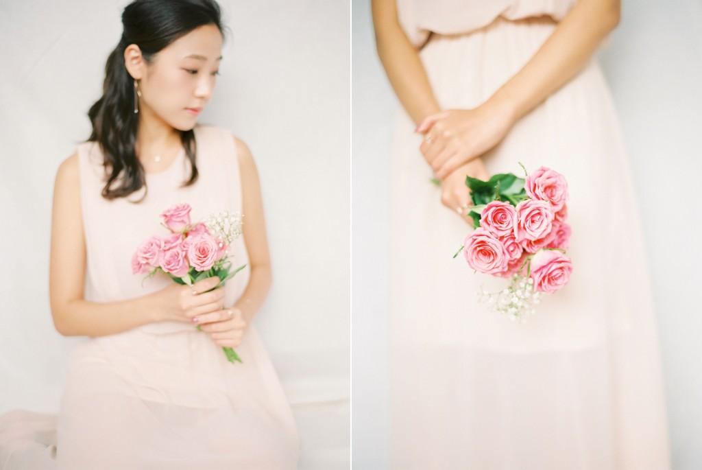 Nicholas-lau-nicholau-film-fine-art-photography-portraits-korean-asian-tea-pot-fuji-400-contax-645-pretty-beautiful-peach-dress-pink-roses-girl