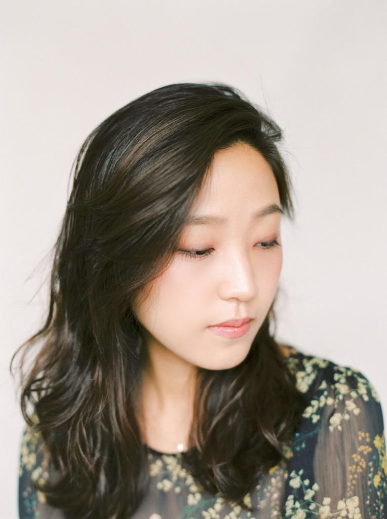Nicholas-lau-nicholau-film-fine-art-photography-portraits-korean-asian-tea-pot-fuji-400-contax-645-pretty-beautiful-serene-looking-down-hair-dress-face