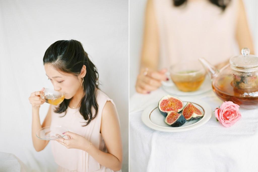 Nicholas-lau-nicholau-film-fine-art-photography-portraits-korean-asian-tea-pot-fuji-400-contax-645-pretty-beautiful-tea-drinking-sipping-pink-roses-figs