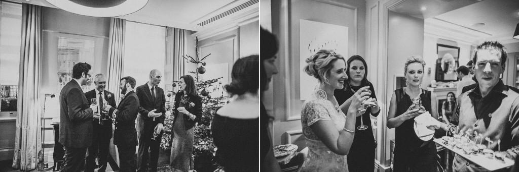nicholas-lau-nicholau-wedding-photography-photographer-fine-art-film-winter-christmas-london-UK-modern-unique-the-arch-asia-house-black-white-reception-guests-conversation