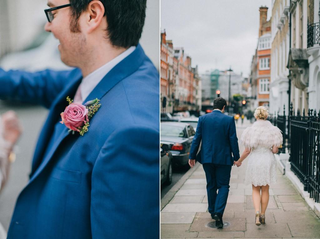 nicholas-lau-nicholau-wedding-photography-photographer-fine-art-film-winter-christmas-london-UK-modern-unique-the-arch-asia-house-blue-suit-walking-together-feather-cape-fur