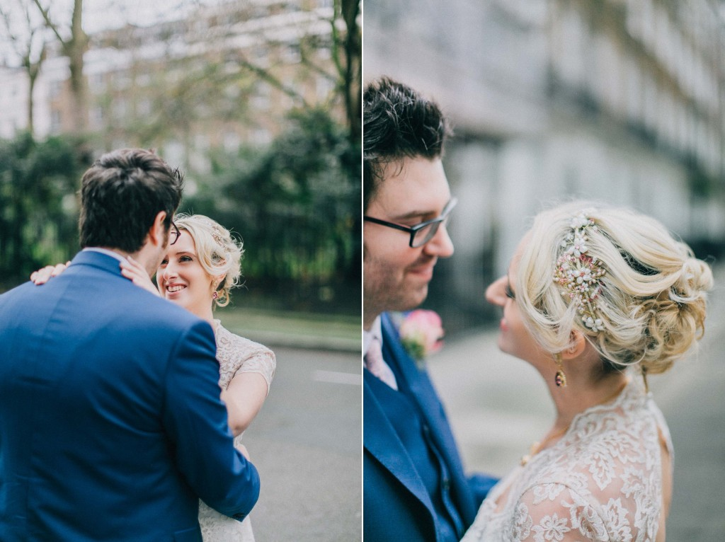 nicholas-lau-nicholau-wedding-photography-photographer-fine-art-film-winter-christmas-london-UK-modern-unique-the-arch-asia-house-blue-suite-groom-holding-cold-wife-bride-hair-updo