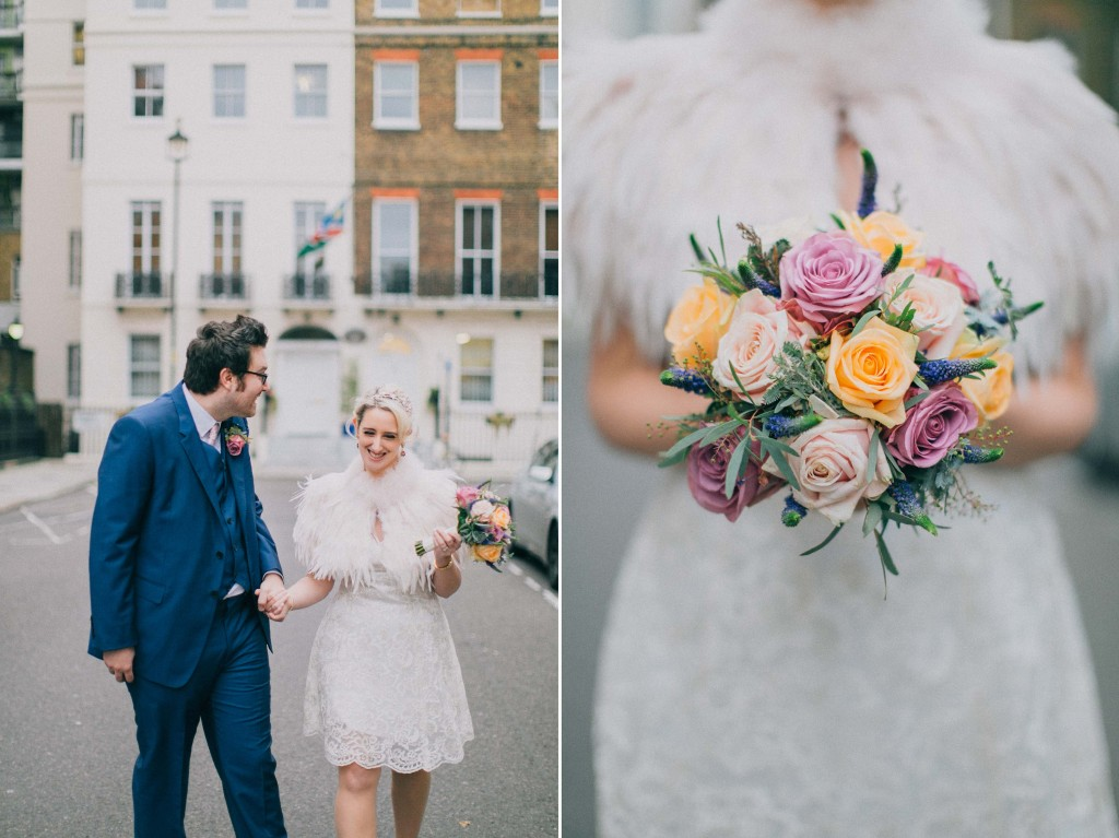 nicholas-lau-nicholau-wedding-photography-photographer-fine-art-film-winter-christmas-london-UK-modern-unique-the-arch-asia-house-bouquet-roses-ferns-white-dress-knee-length-feather-cape