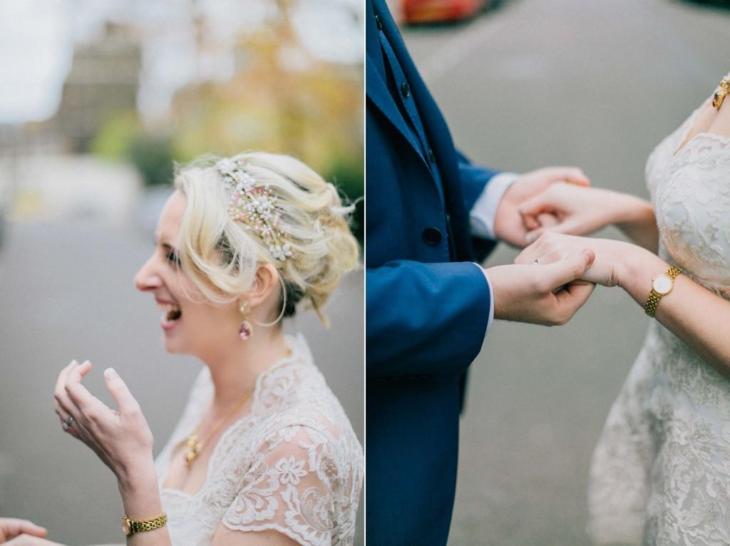nicholas-lau-nicholau-wedding-photography-photographer-fine-art-film-winter-christmas-london-UK-modern-unique-the-arch-asia-house-bride-groom-blue-suit-laughig-holding-hands