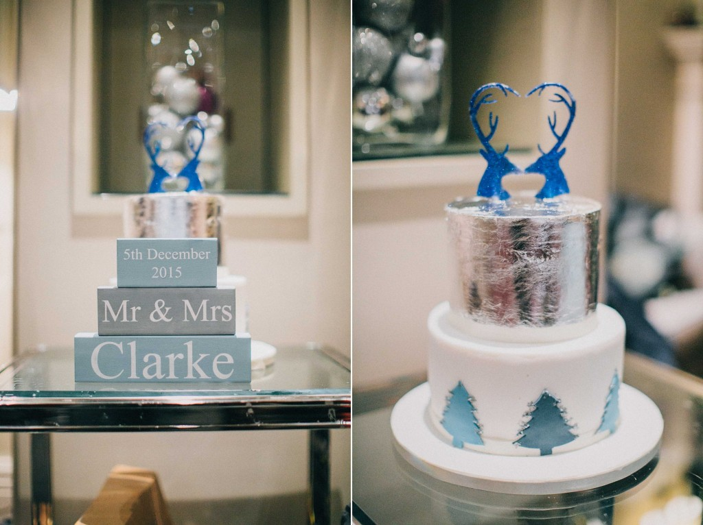 nicholas-lau-nicholau-wedding-photography-photographer-fine-art-film-winter-christmas-london-UK-modern-unique-the-arch-asia-house-cake-blue-silver-deer-toppers-pine-trees