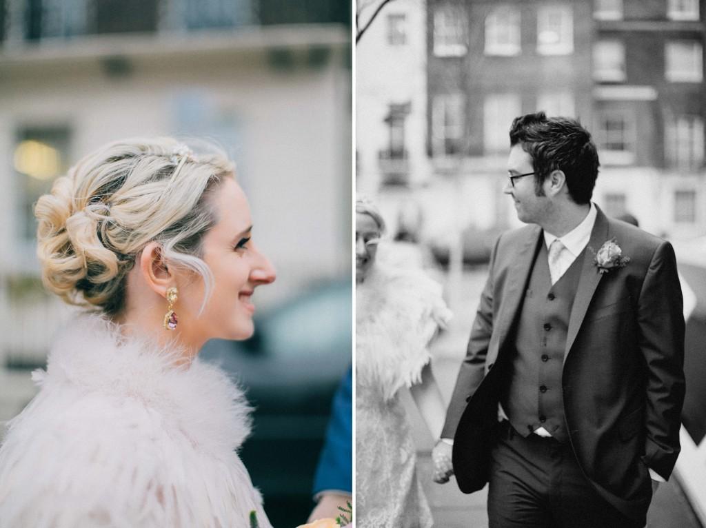 nicholas-lau-nicholau-wedding-photography-photographer-fine-art-film-winter-christmas-london-UK-modern-unique-the-arch-asia-house-feather-cape-black-white-bride-fur