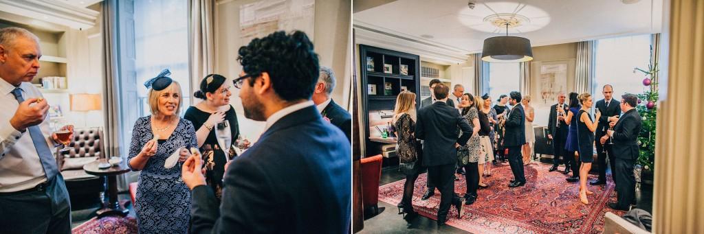 nicholas-lau-nicholau-wedding-photography-photographer-fine-art-film-winter-christmas-london-UK-modern-unique-the-arch-asia-house-groom-hosting-blue-suit-reception-guests