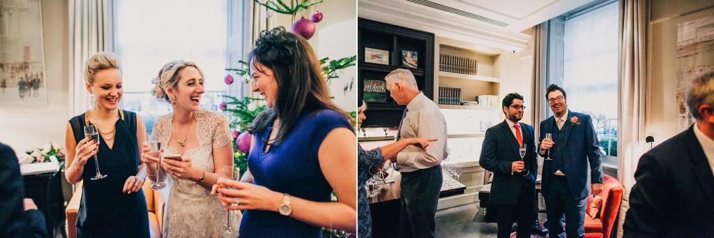 nicholas-lau-nicholau-wedding-photography-photographer-fine-art-film-winter-christmas-london-UK-modern-unique-the-arch-asia-house-wine-bride-guests-laughing