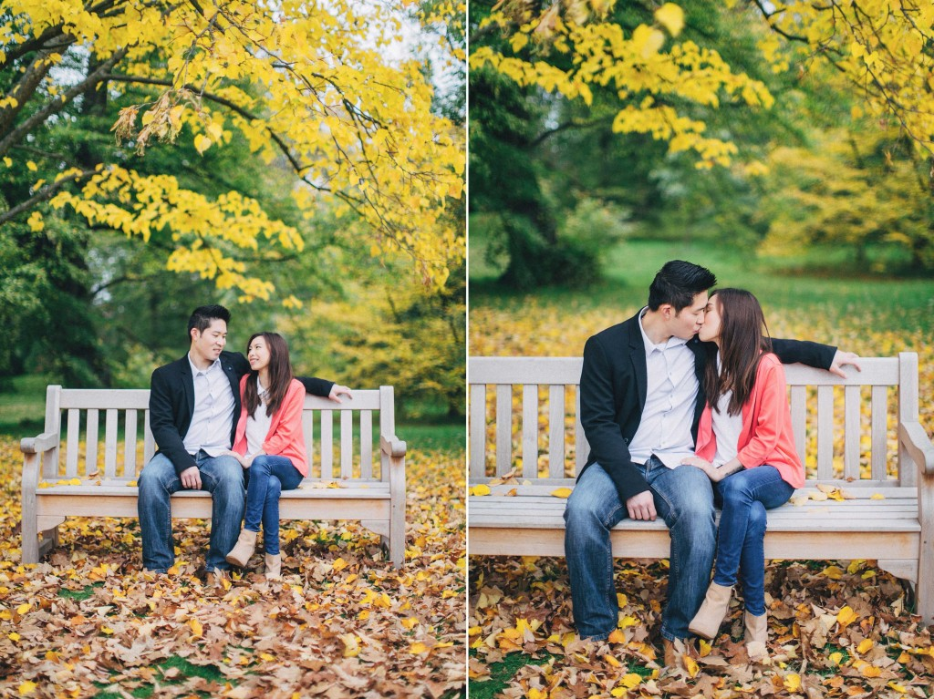 nicholau-nicholas-lau-couple-pre-wedding-film-fine-art-photography-red-blazer-leaves-fall-autumn-kew-gardens-uk-london-bench-kiss-tress-beautiful-coulorful