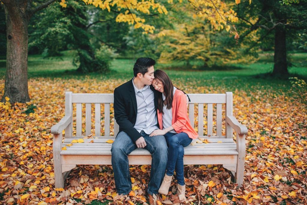 nicholau-nicholas-lau-couple-pre-wedding-film-fine-art-photography-red-blazer-leaves-fall-autumn-kew-gardens-uk-london-bench-rest-head-on-shoulder-trees