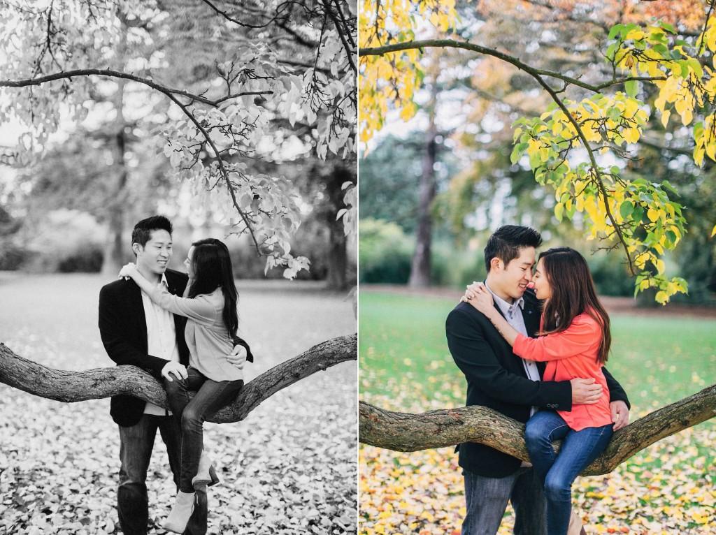 nicholau-nicholas-lau-couple-pre-wedding-film-fine-art-photography-red-blazer-leaves-fall-autumn-kew-gardens-uk-london-branch-chinese-sitting-tree