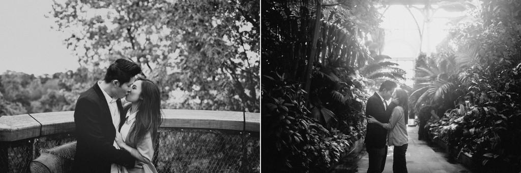 nicholau-nicholas-lau-couple-pre-wedding-film-fine-art-photography-red-blazer-leaves-fall-autumn-kew-gardens-uk-london-conservatory-black-white-kissing-jungle-plants-light