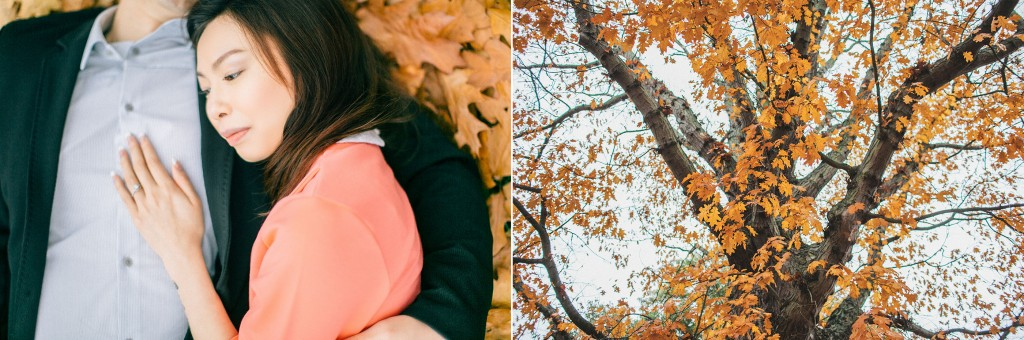 nicholau-nicholas-lau-couple-pre-wedding-film-fine-art-photography-red-blazer-leaves-fall-autumn-kew-gardens-uk-london-laying-down-cuddling-head-on-chest