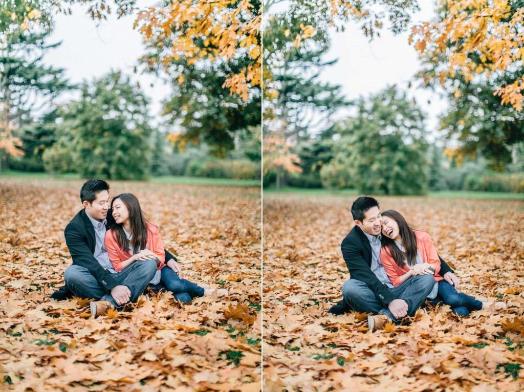 nicholau-nicholas-lau-couple-pre-wedding-film-fine-art-photography-red-blazer-leaves-fall-autumn-kew-gardens-uk-london-sitting-cuddling-pile-of
