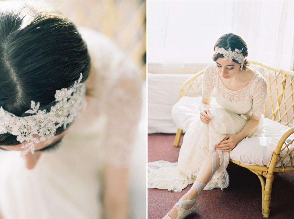 Nicholas-lau-photo-photography-nicholau-film-fine-art-fuji-400h-400-contax-645-ukfilm-lab-monsoon-wedding-dress-shoot-bridal-head-hair-accessories-pearls-the-pearl-earring-tying-lacing-ballet-flat